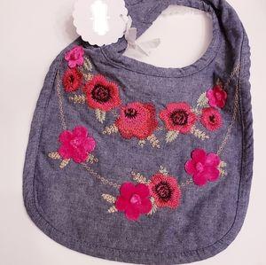 NWT Mud Pie Embroidered Flowers Chambray Bib